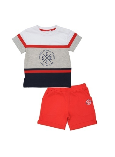 Mininio Kırmızı Duble Paça şort ve Baskılı T-Shirt Takım (6-24ay) Kırmızı Duble Paça şort ve Baskılı T-Shirt Takım (6-24ay) Kırmızı
